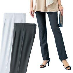 日本製 チュニックにぴったりなパンツ 同サイズ2色組 選べる股下丈 ストレッチパンツ 公式 年間定番 レディース 婦人 ミセス シニア 長ズボン グレー p19576 黒 ※お取り寄せ商品です ブラック