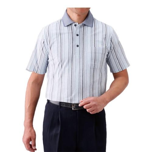 ※お取り寄せ商品です 同サイズ2色組 春夏 日本製 杢調ストライプ柄半袖ポロシャツ 超特価 p20029半袖シャツ 正規品 紳士 カジュアルシャツ メンズ ブルー系 ワインレッド系