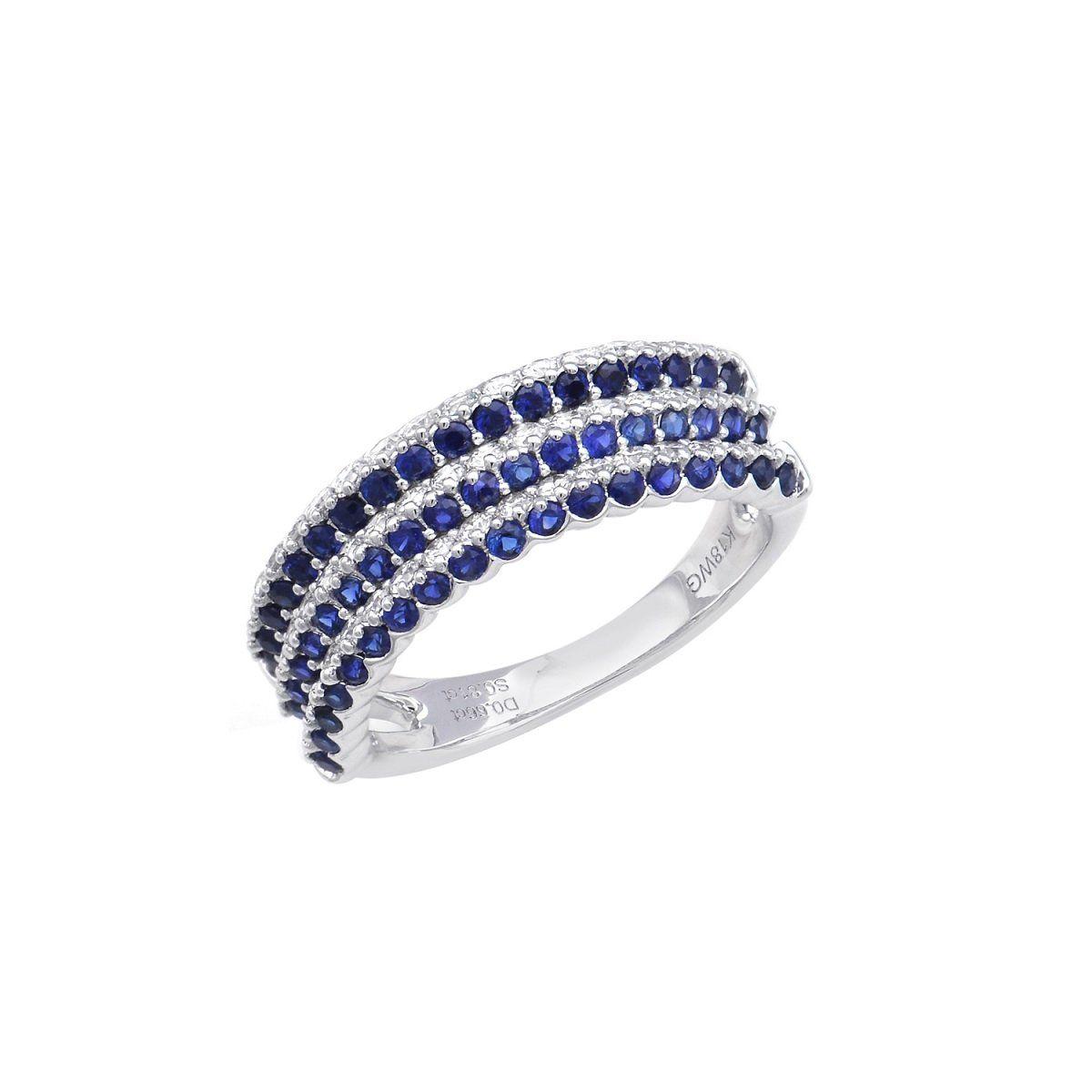 K18WG ファッション通販 ダイヤ サファイヤ リング ホワイトゴールド 新作続 ダイヤモンド パーティー 18金 サファイア サファイア0.81ct 鑑別書あり ダイヤ0.66ct 指輪