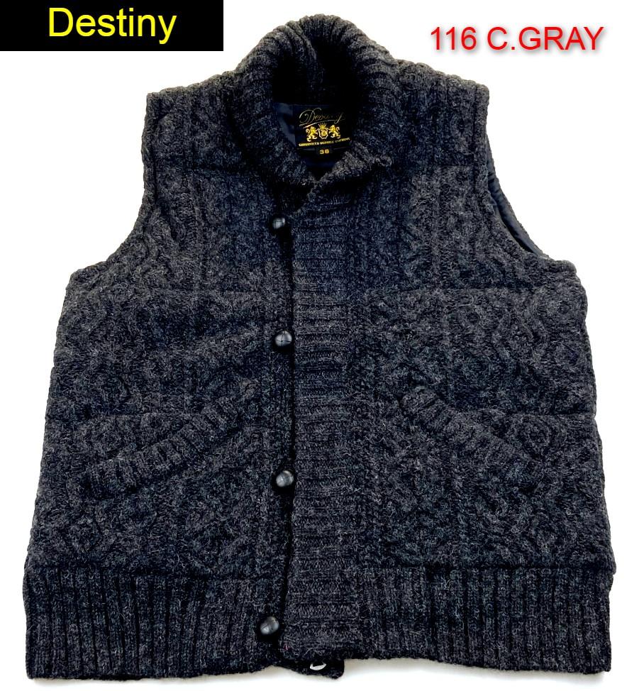 Destiny スペシャルプライス 送料無料 ディスティニー WOOL PADDING DE90122 ウール 人気の製品 VEST トップサーモ ベスト 高品質新品 中綿