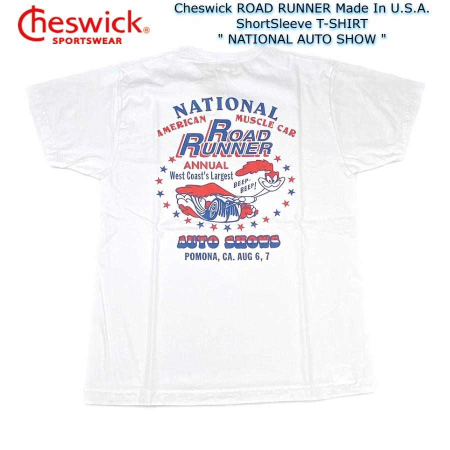 送料無料 Cheswick ロードランナー Tシャツ ゆうパケット送付商品 ROAD RUNNER Made In U.S.A. ShortSleeve T-SHIRT コットン AUTO USA製 NATIONAL 100% チェスウィック 毎日続々入荷 半袖Tシャツ
