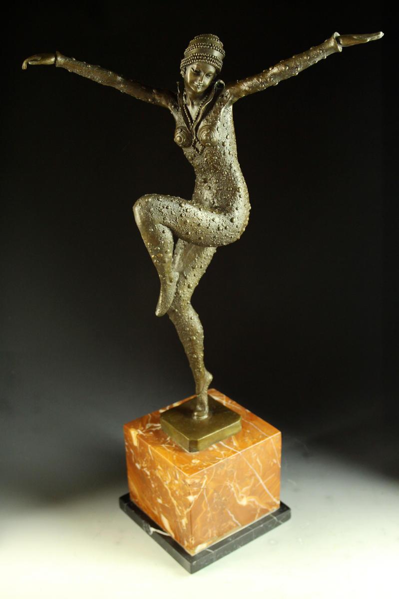 【送料無料】超大型ブロンズ像 エジプトのダンサー Chiparus◇55cm 名品インテリア 彫刻 銅像
