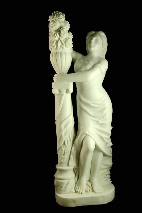 一級大理石彫刻≪花の女神像 ≫天然石102cm★80kg