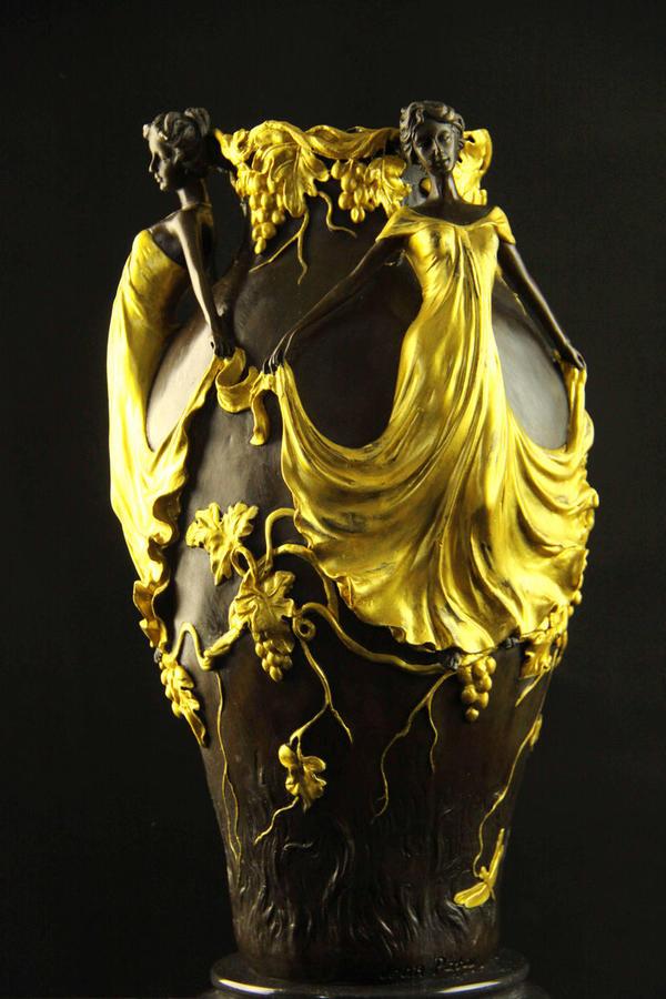 【送料無料】大型ブロンズ◇美人の花瓶◇Jean Patou作◇彩色