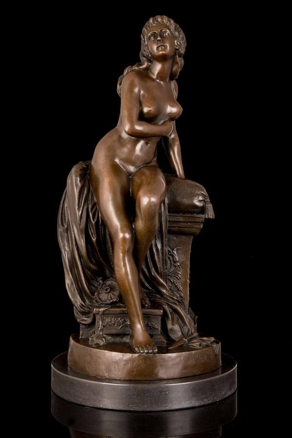 大型ブロンズ像 座ってる裸女 インテリア 彫刻 銅像 52cm 11kg