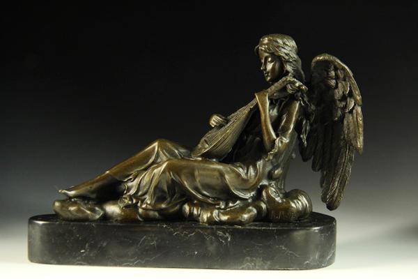 【送料無料】ブロンズ像◇琴を持つ天使◇16.5cm◇名作