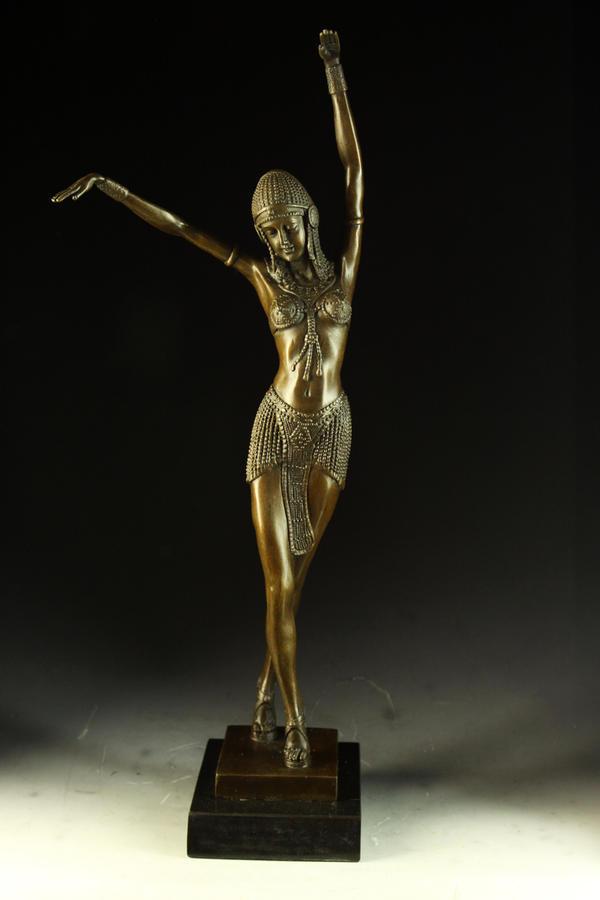 【送料無料】大型ブロンズ像◇舞王◇49cm◇Chiparus◇名作インテリア 彫刻 銅像