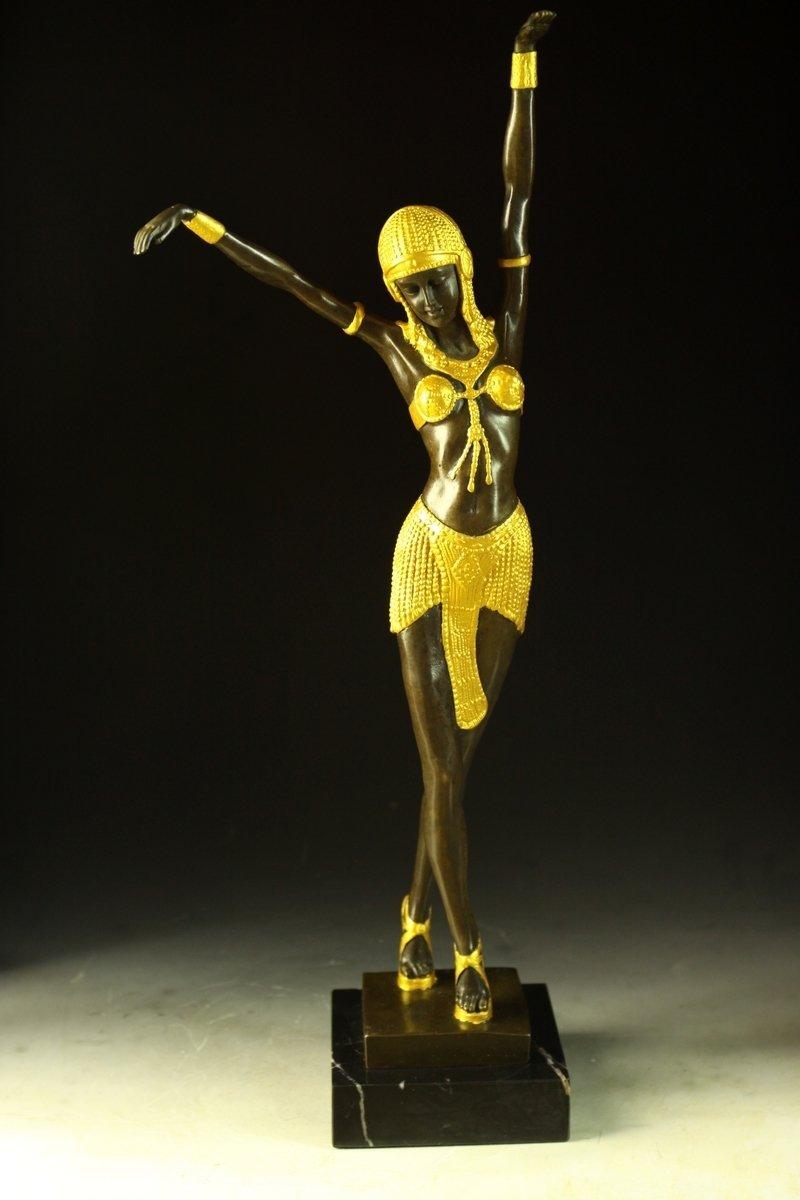 【送料無料】大型ブロンズ像 舞女◇49cm Chiparus金彩インテリア 彫刻 銅像