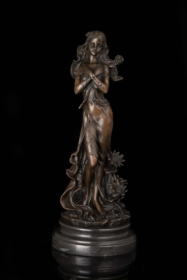 【送料無料】可愛ブロンズ像『花の女神像』33cm◇Jean Patou◇ギリシア神話◇彩色