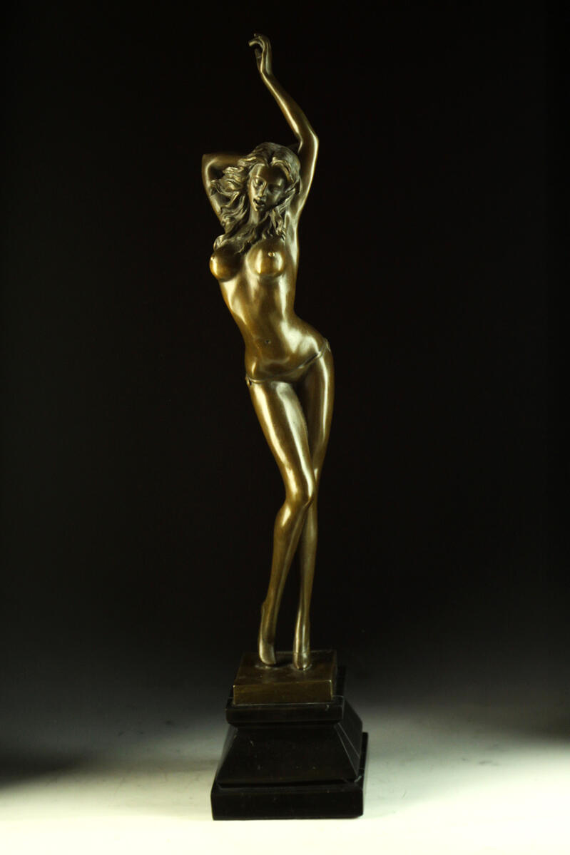 【送料無料】大型ブロンズ像 妖艶な婦人 Aldo Vitaleh  51cmインテリア 彫刻 銅像