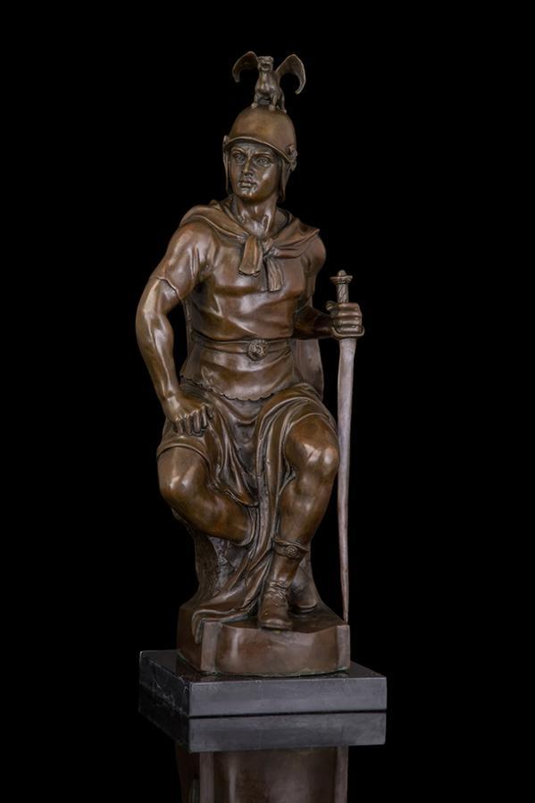 大型ブロンズ像 古ローマの戦士 62cm 13kg インテリア 彫刻 銅像