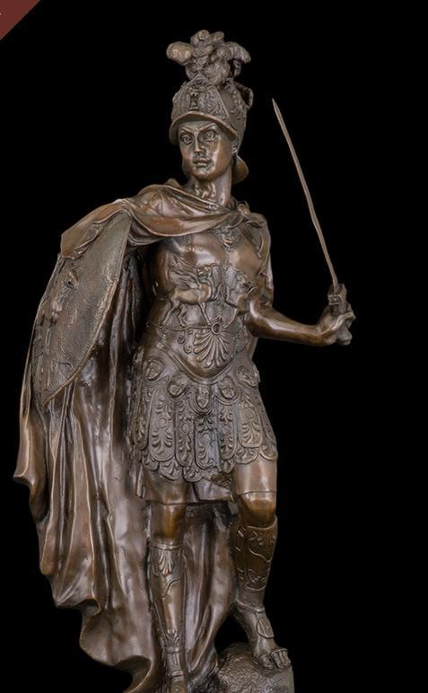 大型ブロンズ像 古ローマの戦士 インテリア 彫刻 銅像 73cm 18kg
