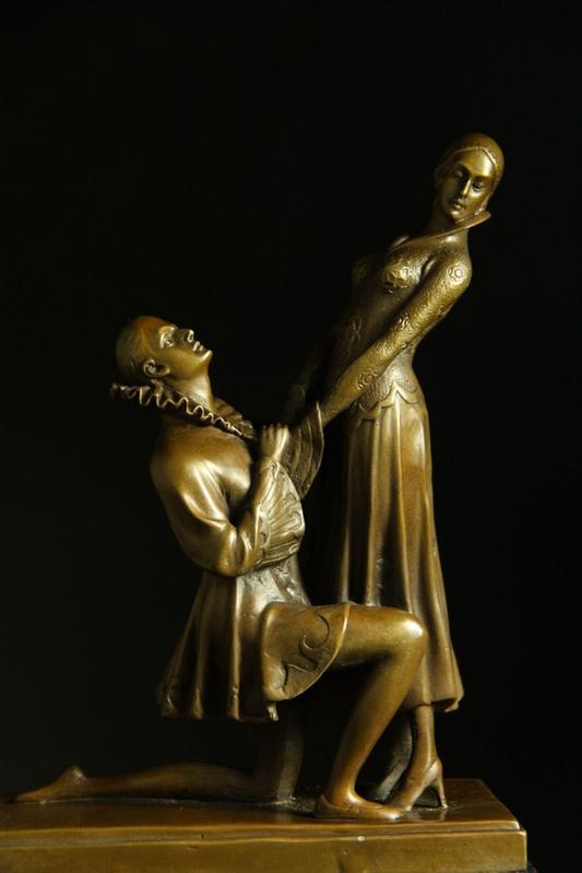 【送料無料】重量ブロンズ像 カップルのダンサー Milo32cm大名品インテリア 彫刻 銅像