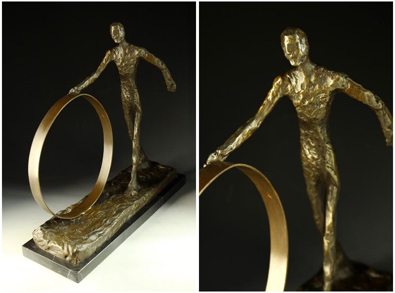 【送料無料】超人気ブロンズ像 輪を押す男子 銅像 彫刻 ジャコメッティ 34cmインテリア 彫刻 銅像, コスメレシピ:ea5feb97 --- sunward.msk.ru