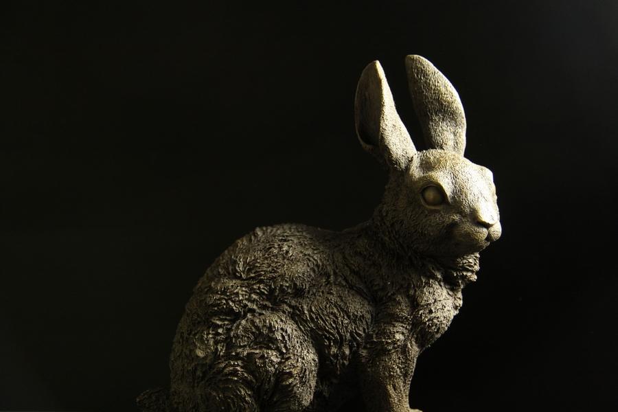 【送料無料】大型ブロンズ◇像『ウサギ』◇32cmD.Weimer◇大名品