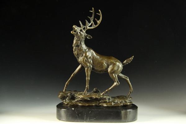 【送料無料】動物ブロンズ像『鹿』◇26cm◇大名品barye作