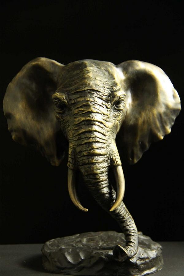 【送料無料】動物ブロンズ像『象』◇20cm◇大名品