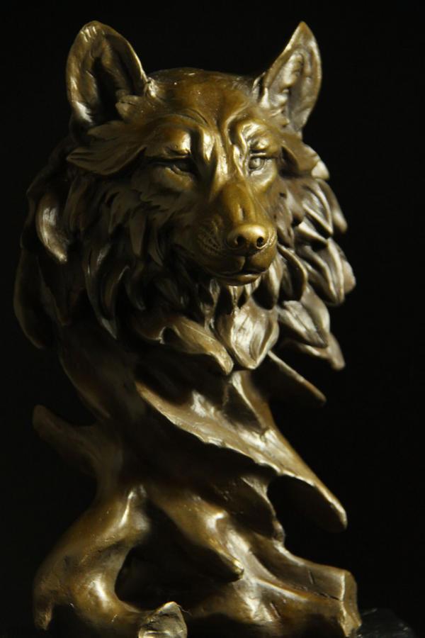 【送料無料】動物ブロンズ像 オオカミ 30cm ミロ名作インテリア 彫刻 銅像