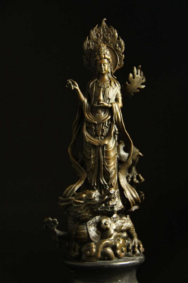 仏像 インテリア 「聖観音菩薩立像」ブロンズ像 42cm