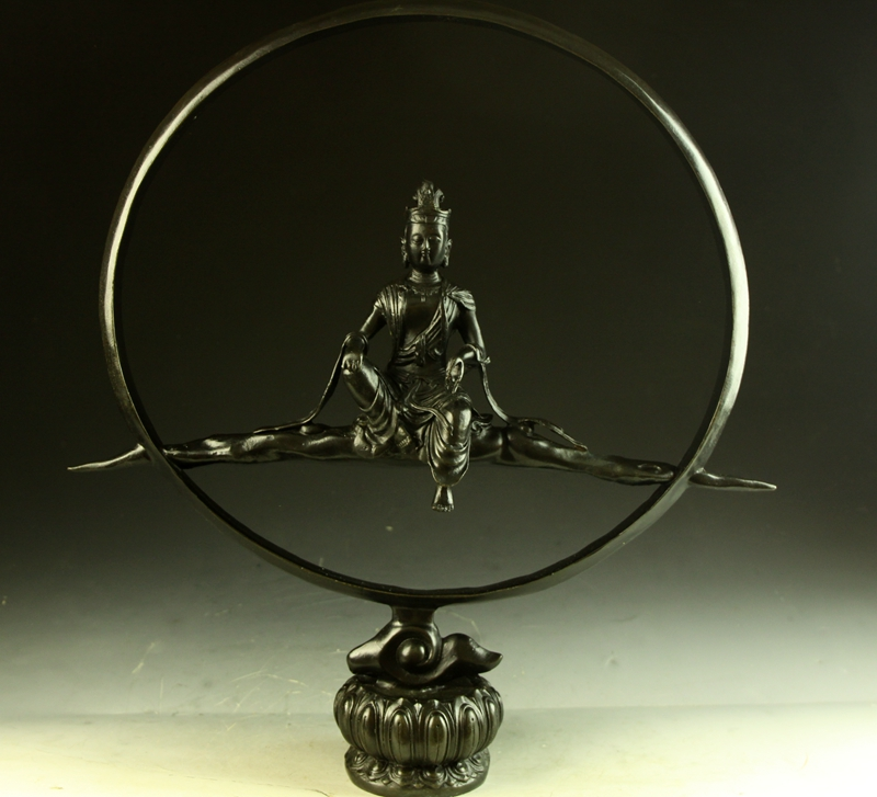 【送料無料】仏教美術◇大型水月観音菩薩像◇細工◇銅製◇44cm