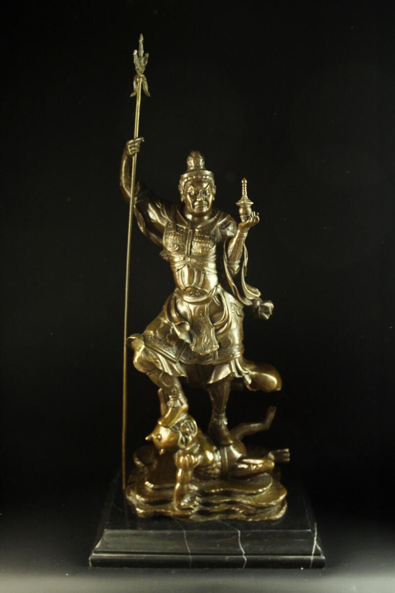 【送料無料】超大型ブロンズ製仏教美術毘沙門天四天王55cm銅像 彫刻 仏像 インテリア