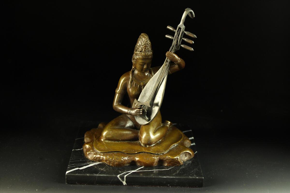【送料無料】ブロンズ製仏教美術裸身弁才天仏教の守護神銅像 彫刻 仏像 インテリア
