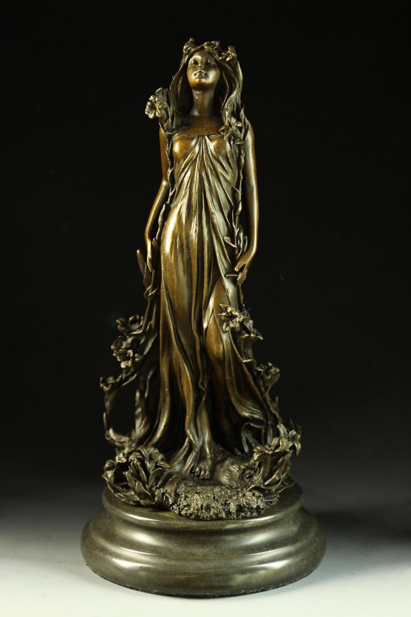 【送料無料】大人気ブロンズ像 花の女神像 Aldo Vitaleh 作インテリア 彫刻 銅像