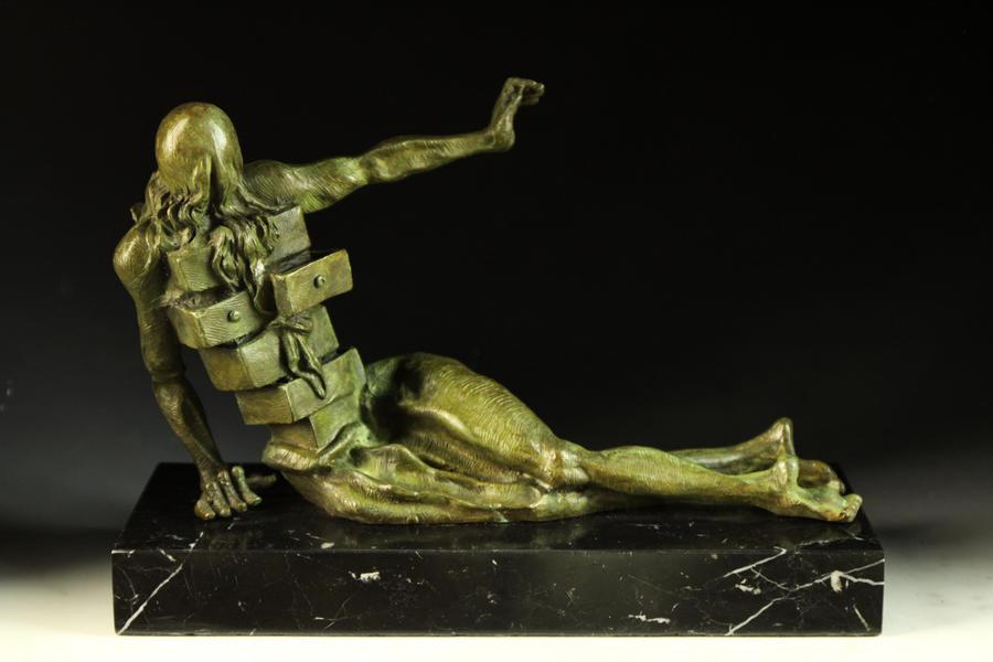 【送料無料】超人気ブロンズ像 人の形をしたキャビネットダリ希少インテリア 彫刻 銅像