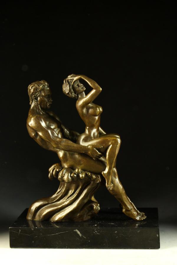 【送料無料】大人気ブロンズ 春宵一刻 名品インテリア彫刻フィギュア