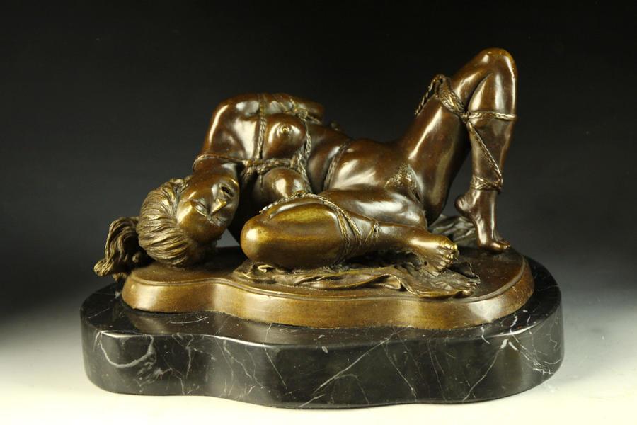 【送料無料】超人気ブロンズ像 緊縛の裸婦 J.Mavchi名作インテリア彫刻フィギュア