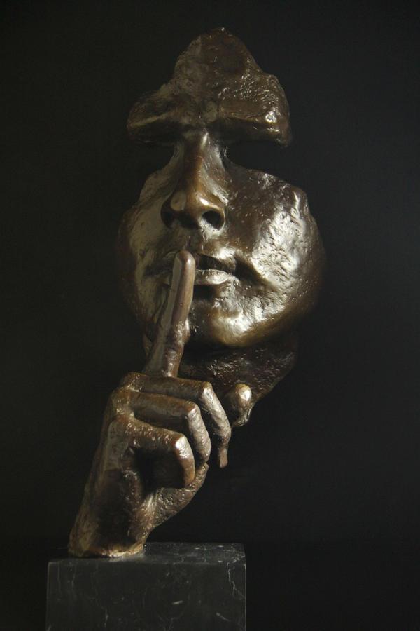 【送料無料】大型ブロンズ像 仮面 ダリ 名品 52cmインテリア 彫刻 銅像
