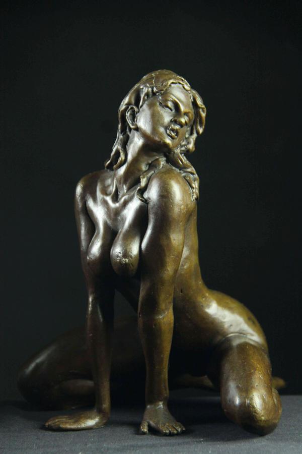 【送料無料】大人気ブロンズ像 セクシーな裸女 名品銅像 インテリア 彫刻 美術品フィギュア