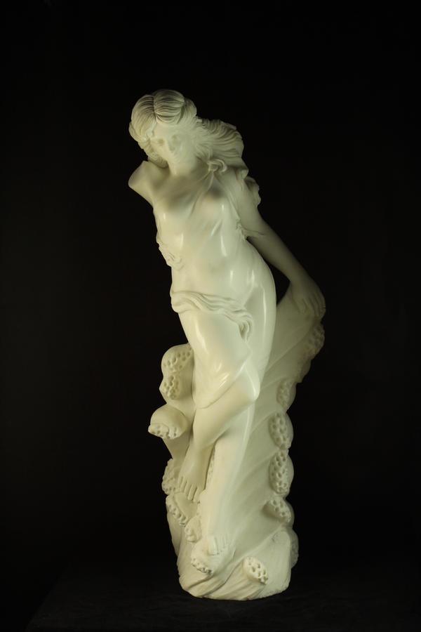 一級大理石彫刻≪水の精≫★天然石★102cm★85kg