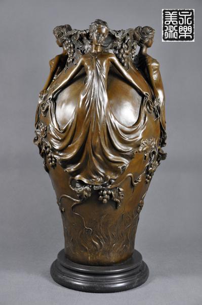 【送料無料】 大型ブロンズ◇美人の花瓶◇Jean Patou作◇39cm