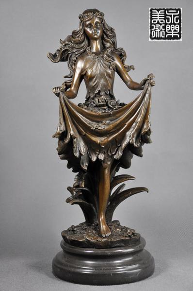 【送料無料】可愛ブロンズ像『花の女神像』◇Jean Patou◇ギリシア神話◇33cm