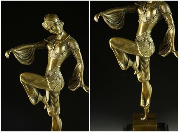 Large figure in bronze King Mai D H チパルス 43cm perfect gem