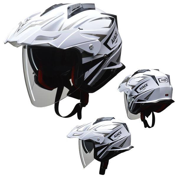 リード工業 オフロードジェットヘルメット AIACE ホワイト M バイク用