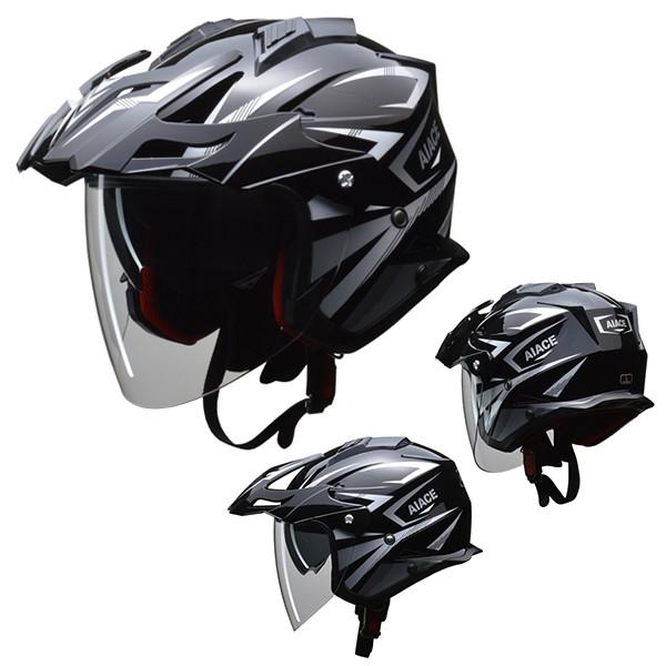 リード工業 オフロードジェットヘルメット AIACE ブラック L バイク用