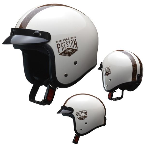 リード工業 ジェットヘルメット PRESTON アイボリー フリー バイク用
