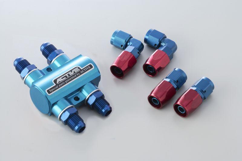 サーモスタットキット(ストレートフィッティング×2ヶ/90°フィッティング×2個) #6 ブルー ACTIVE(アクティブ)