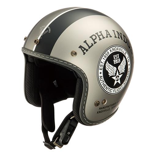 ALVH-1621 STEALTH(ステルス) ジェットヘルメット マットブラック/マットグレー フリーサイズ(59cm) Alpha industries(アルファインダストリー)