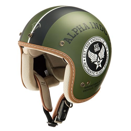 ALVH-1621 STEALTH(ステルス) ジェットヘルメット マットブラック/マットカーキ フリーサイズ(59cm) Alpha industries(アルファインダストリー)