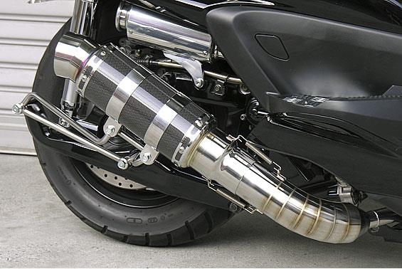 HEタイプマフラー レーシングタイプ ブラックカーボン ASAKURA(浅倉商事) グランドマジェスティ400(O2センサー装着モデル)