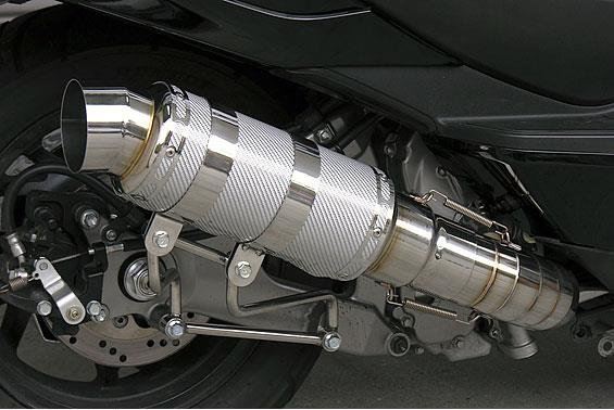 HEタイプマフラー レーシングタイプ ホワイトカーボン ASAKURA(浅倉商事) スカイウェイブ250(SKYWAVE)CJ44・45・46