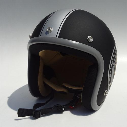 SNOOPY(スヌーピー)ジェットヘルメット マットブラック/シルバー フリーサイズ(57~60cm) アークス(AXS)