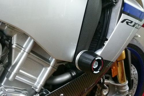 レーシングスライダー フレーム ロゴ有 ジュラコン/ホワイト AGRAS(アグラス) YZF-R1/M(15年)
