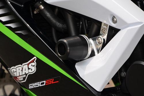 レーシングスライダー フレーム レースタイプ 左右セット ロゴ無 ジュラコン/ブラック AGRAS(アグラス) Ninja250SL(ニンジャ250SL)