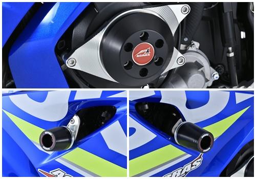 レーシングスライダー フレーム(左右)+ジェネレーター ロゴ有 ジュラコン/ホワイト AGRAS(アグラス) GSX-R1000(17年)
