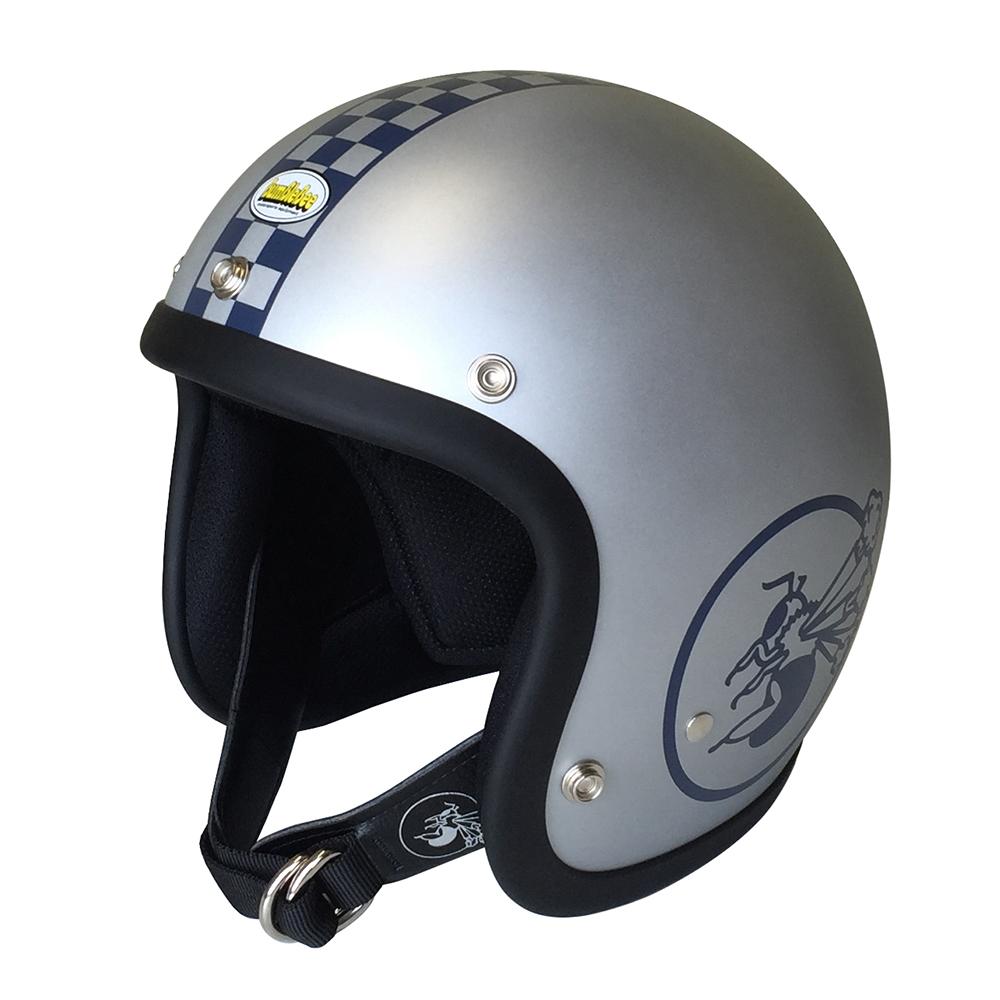 BBHM-03N チェッカー ジェットヘルメット マットシルバー MLサイズ ジェットヘルメット BumBleBee(バンブルビー)