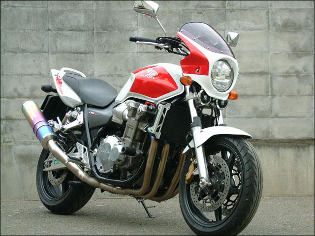 ロードコメット スモークスクリーン ダークネスブラックメタリック/キャンディタヒチアンブルー 通常スクリーン シックデザイン CB1300SF(03年~)